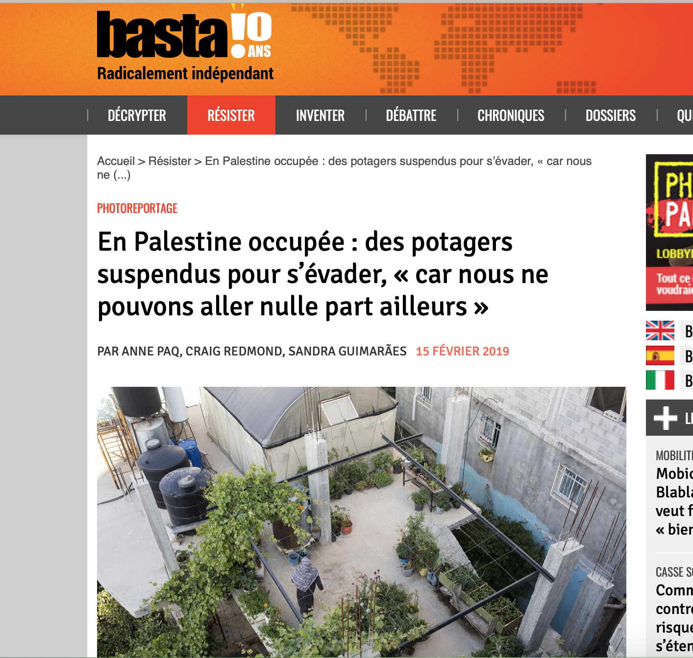 Baladi - Rooted Resistance article published in Basta! Magazine, February 2019