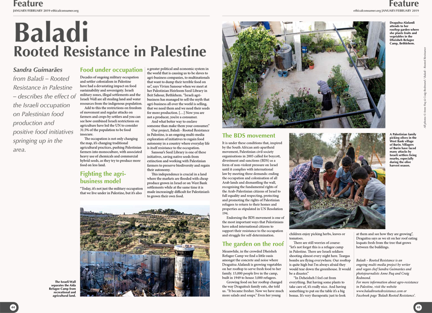 Baladi - Rooted Resistance article published in Ethical Consumer Magazine, January  / February 2019